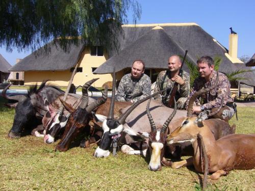 Результат первого утра в Намибии на троих охотников: гну, 2 орикса, бубал, блесбок и импала. Неплохо?