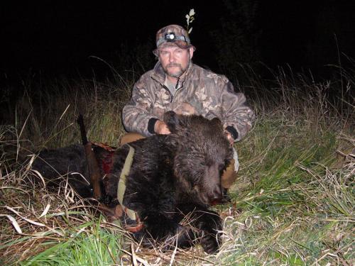 Этого медведя добыл возле Учки из-за валка сена, на ручье